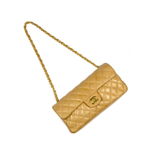 Chanel East West Flap Bag in Biscuit