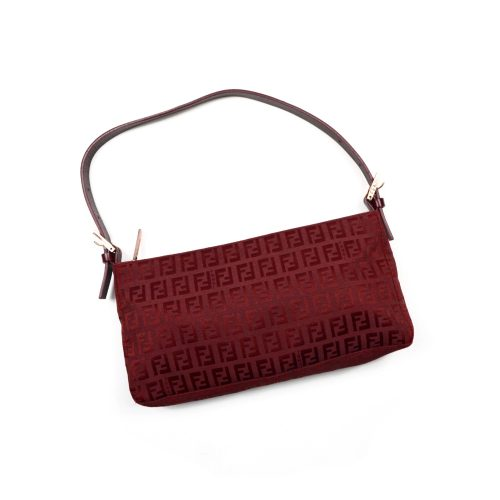 Fendi Zucchino Red Baguette Bag