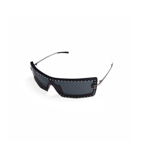 Chanel Rimless Diamante Visor Sunglasses in Black