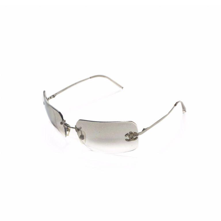 Chanel Rimless Diamante Sunglasses in Silver