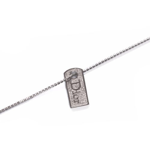 Dior Dog Tag Necklace on Diamante Chain