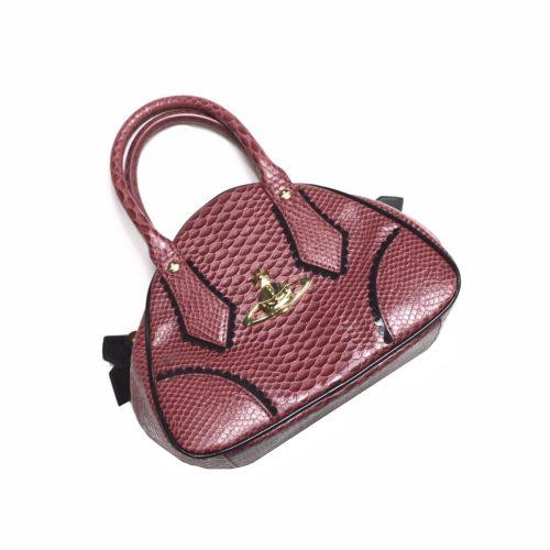 Vivienne Westwood Orb Handbag in Crimson Snakeskin