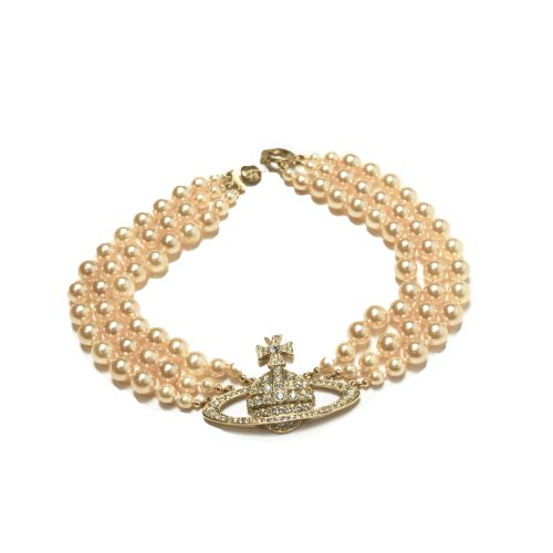 Vivienne Westwood Three Row Pearl Choker in Gold