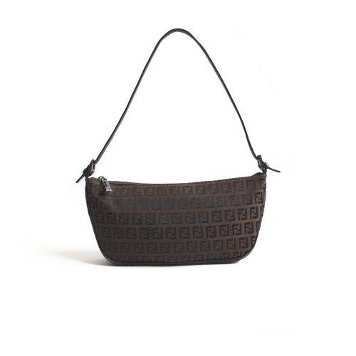 Fendi Zucchino Crescent Baguette Bag | NITRYL