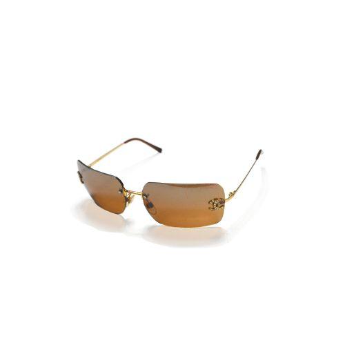 Vintage Chanel Gold Brown Diamante Sunglasses | NITRYL