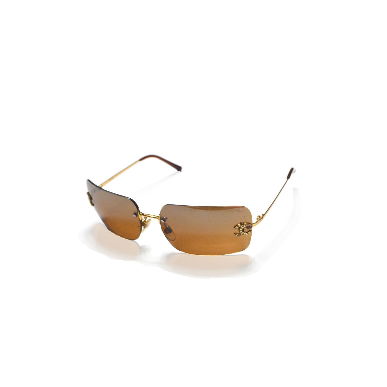 Vintage Chanel Gold Brown Diamante Sunglasses   NITRYL