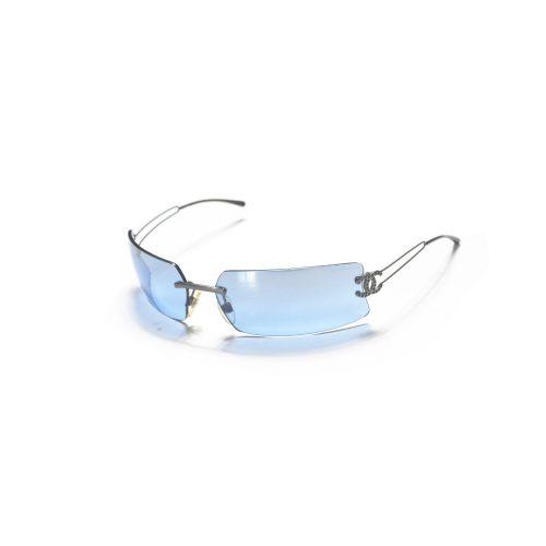 Vintage Chanel Blue Tinted Rimless Diamante Sunglasses | NITRYL