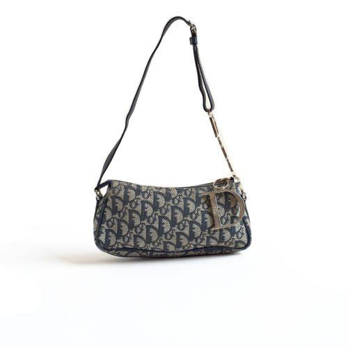 Vintage Dior Monogram Trotter Baguette Bag with Silver Strap | NITRYL