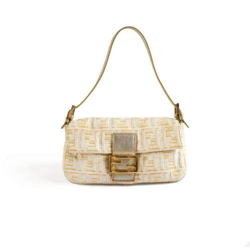 Fendi Limited Edition Zucca Baguette Bag in Gold and Cream | NITRYL