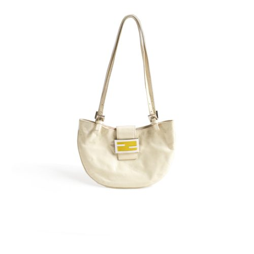 Fendi Leather Croissant Shoulder Bag in Cream | NITRYL