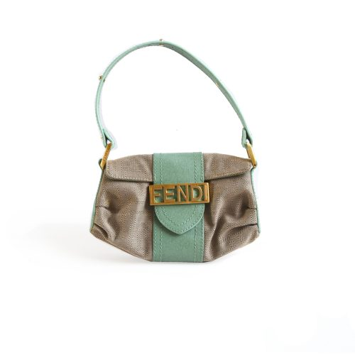 Fendi Monogram Mini bag with Gold Spellout Plate | NITRYL