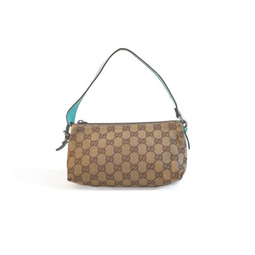 Vintage Gucci Monogram Pochette Bag in Beige with Green Details | NITRYL