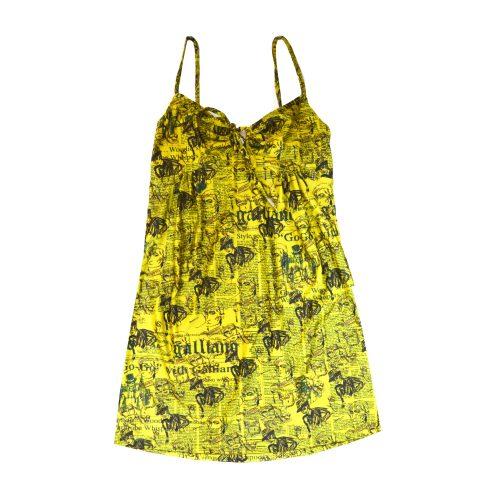 John Galliano Newspaper Print Dress in Yellow | NITRYL