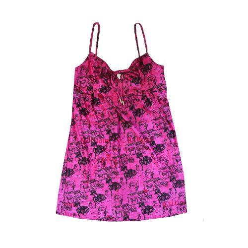 John Galliano Newspaper Print Dress in Pink | NITRYL