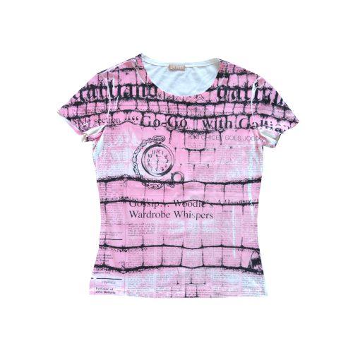 John Galliano Newspaper Print T-Shirt in Pink | NITRYL