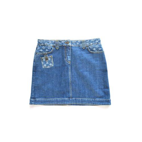 Vintage Louis Vuitton Monogram Denim Skirt | NITRYL