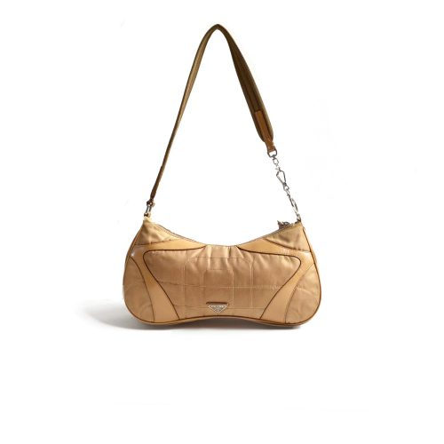 Prada Nylon Quilted Shoulder Bag in Tan | NITRYL