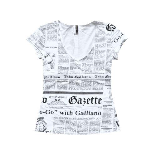 John Galliano Newspaper Print T-Shirt | NITRYL