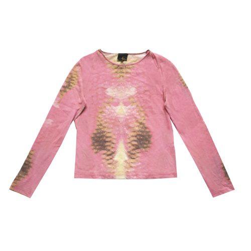 Vintage Cavalli Snakeskin Long Sleeve Top in Pink   NITRYL