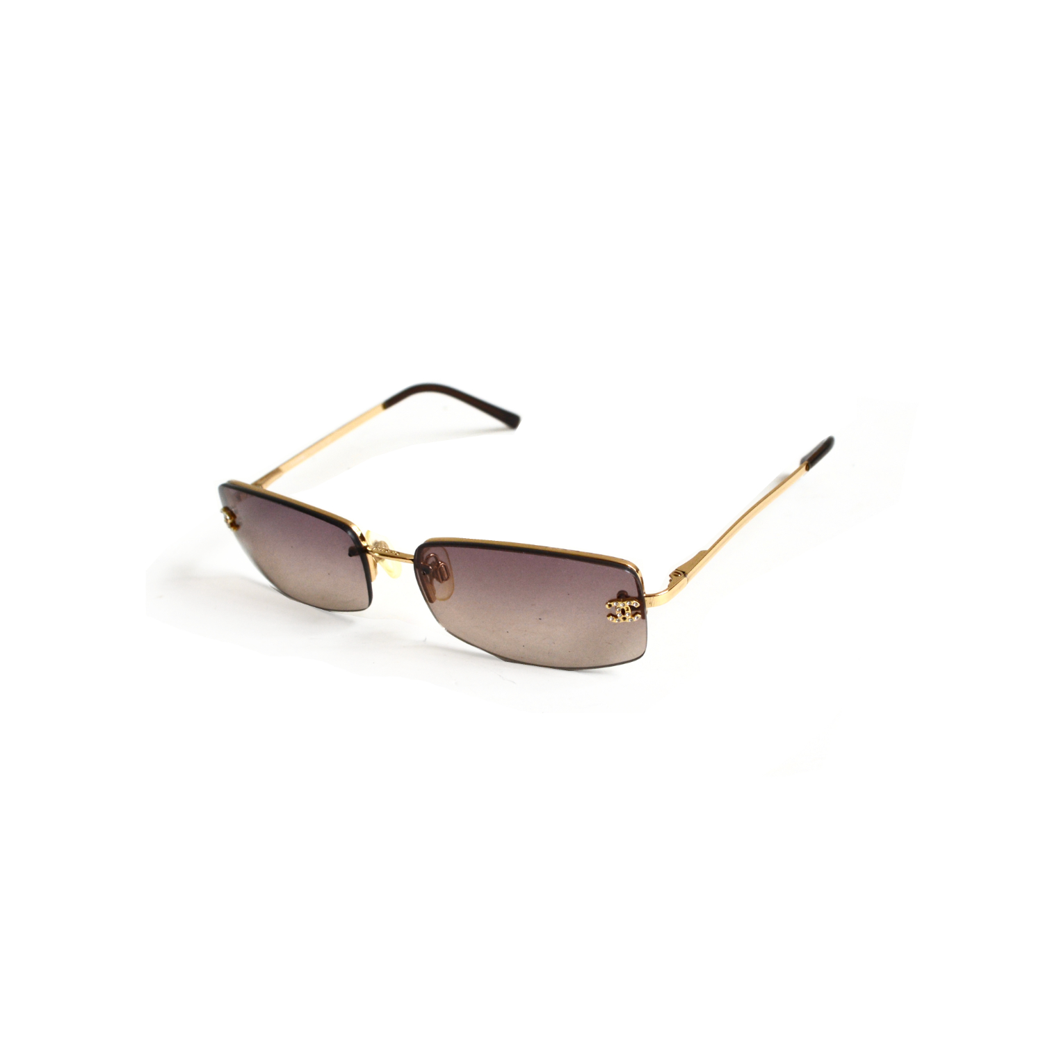Chanel Rimless Tinted Diamante Gold Sunglasses in Brown | NITRYL