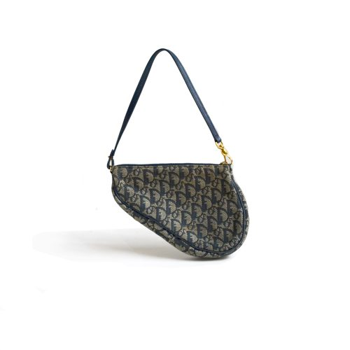 Vintage Dior Trotter Saddle Bag in Navy | NITRYL