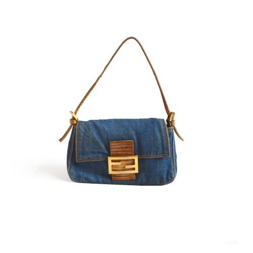 Vintage Fendi Mini Baguette in Denim & Lizard | NITRYL