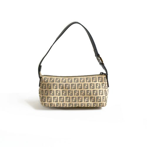 Vintage Fendi Zucchino Mini Baguette Bag in Beige | NITRYL