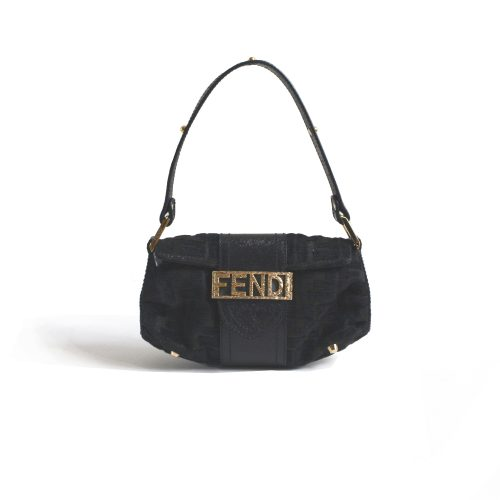 Vintage Rare Fendi Zucca Mini Bag with Spell out Plate in Black | NITRYL