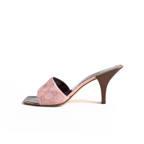 Gucci Monogram Heeled Slip On Mules in Pink Size 5.5 | NITRYL