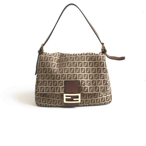 Fendi Zucchino Mama Baguette in Tobacco with Gold Hardware | NITRYL