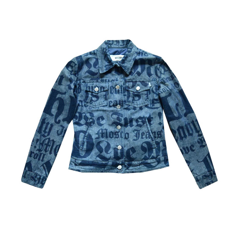 Vintage 90s Moschino Old English Print Denim Jacket Size S | NITRYL