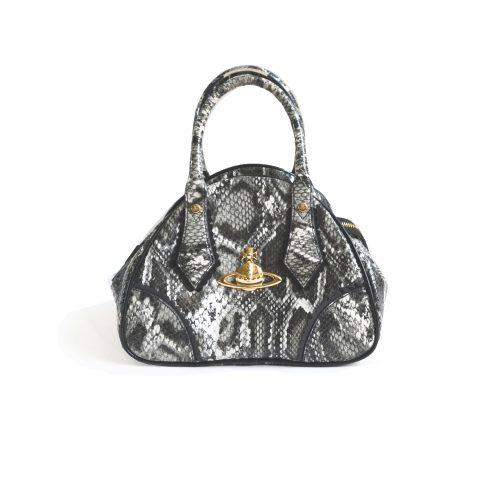 Vivienne Westwood Patent Snakeskin Orb Top Handle Bag in Grey | NITRYL