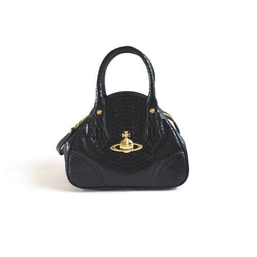 Vivienne Westwood Patent Croc Orb Top Handle Bag in Black | NITRYL