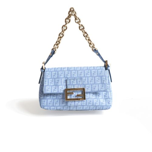 Fendi Zucchino PVC Baby Blue Mini Baguette Bag with Gold Chunky Hardware | NITRYL