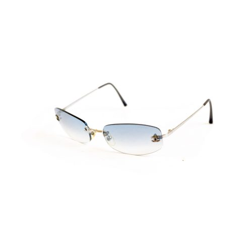 Vintage Chanel Tinted Rimless Sunglasses in Baby Blue | NITRYL
