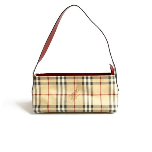 Vintage Burberry Nova Check Baguette Shoulder Bag with Red Trim | NITRYL