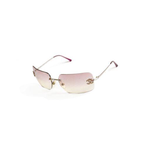 Vintage Chanel Diamante Sunglasses in Baby Pink | NITRYL