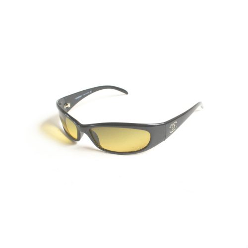 Vintage Chanel Chunky Diamante Sunglasses in black and yellow | NITRYL