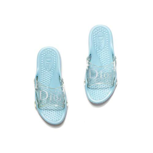 Dior Baby Blue Rubber Jelly Sliders | NITRYL