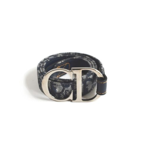 Vintage Dior Monogram Belt in Navy with Silver 'CD' Buckle | NITRYL