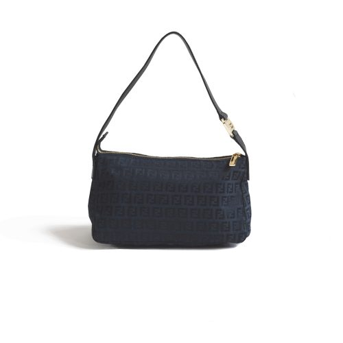 Vintage Fendi Zucchino Monogram Baguette Shoulder Bag in Black | NITRYL
