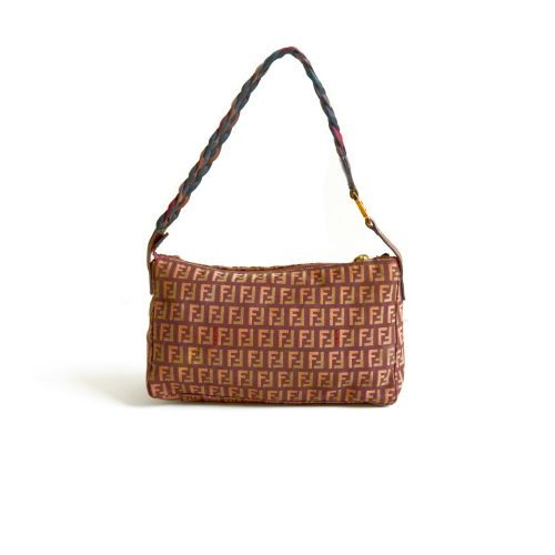 Vintage Fendi Zucchino Baguette Bag in Red/Brown | NITRYL