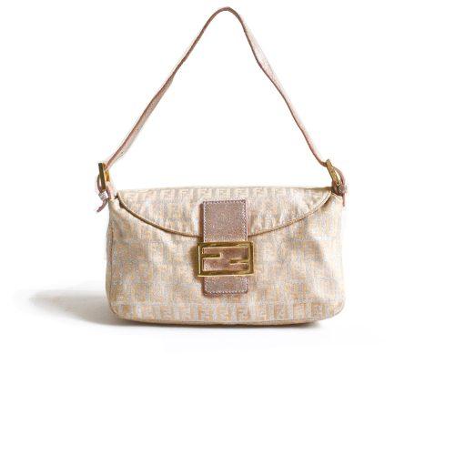 Fendi Zucchino Baby Pink Silver Baguette Bag Gold | NITRYL