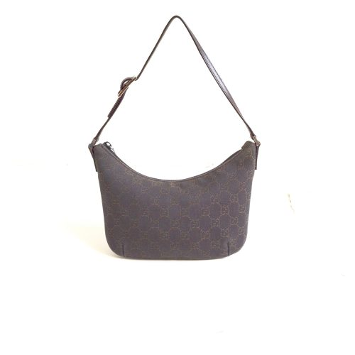 Vintage Gucci Monogram Crescent Mini Bag in Brown | NITRYL