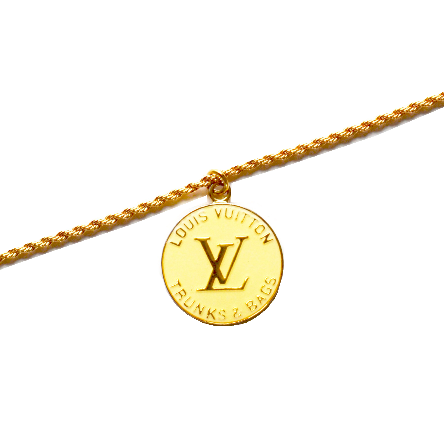 Reworked Louis Vuitton Logo Charm Necklace