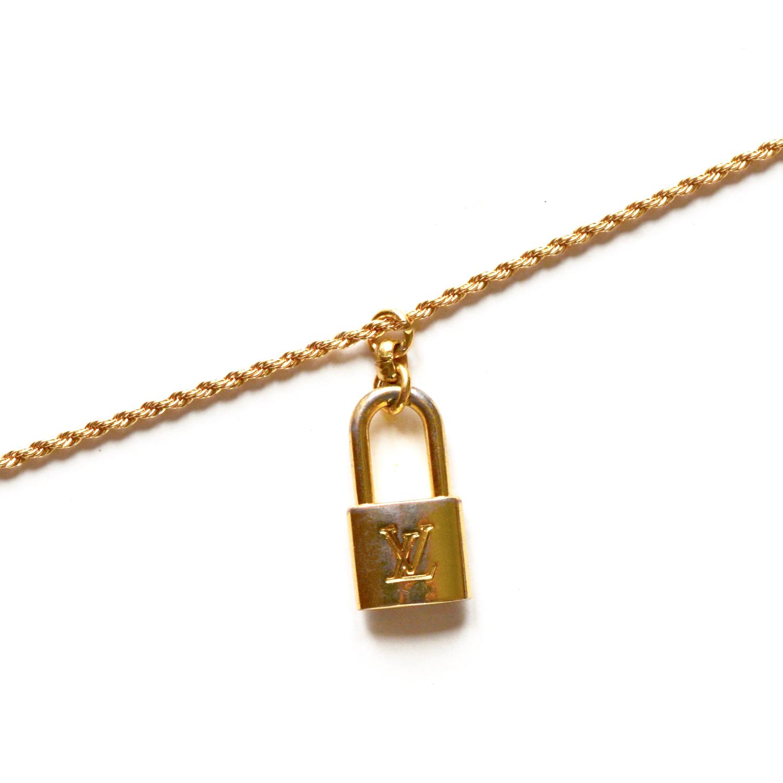 Reworked Louis Vuitton Padlock Logo Charm Necklace