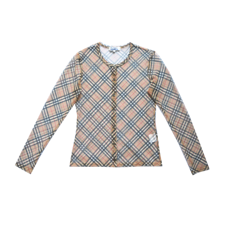 Vintage Burberry Blue Label Mesh Cardigan Size M   NITRYL