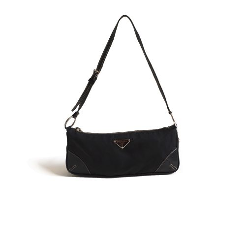 Prada Nylon Baguette Shoulder Bag in Blacl | NITRYL
