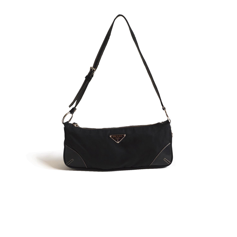 Prada Nylon Baguette Shoulder Bag in Blacl | NITRYL