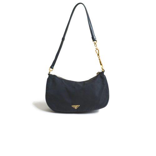 Vintage Prada Nylon Shoulder Bag with Gold Hardware | NITRYL